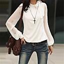 sólido negro / blusa blanca de las mujeres, manga larga
