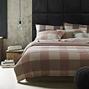 Simple Opulence 100%  Cotton Washed Lattice Pattern Duvet Cover (Pink and Grey)