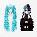 VOCALOID Hatsune Miku Blue Anime Cosplay Wavy Wig + 2 Clip On Ponytail