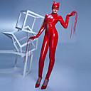 Tight Long Sleeves Red & Black PVC Female Sexy Uniforms