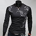 Men's Casual/Work Print Long Sleeve Regular T-Shirts (Cotton Blends)