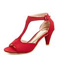 Women's Shoes Fleece Low Heel Peep Toe Sandals Dress Black/Pink/Red