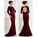 TS Couture Formal Evening Dress - Ruby Trumpet/Mermaid Bateau Sweep/Brush Train Lace
