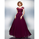 TS Couture Dress - Grape Plus Sizes / Petite A-line Scoop Floor-length Chiffon