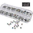 1200pcs ab uñas de diamante de acrílico de color decoraciones de arte 1.5 / 2/3/4/5/6 mm
