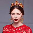 Byzantine Luxurious Rhinestones Wedding/Party Headpieces/Tiaras with Red Crystals with Earrings