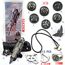 Assassin's Creed Ezio Pirate Hidden Blade Gauntlet Cosplay Accessories (+Alloy Ring Badge Necklace Key Buckle 11Pcs Set)