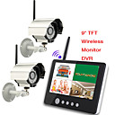 9 inch 2.4G Wireless Two Cameras Audio Video Baby Monitors 4CH Quad DVR Security System With IR night light