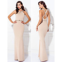 Formal Evening Dress - Champagne Sheath/Column Jewel Floor-length Jersey
