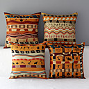 Set of 4 Africa Style Patterned Cotton/Linen Decorative Pillow Covers