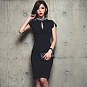 Women's Vintage/Sexy/Casual/Lace/Cute/Party/Work Inelastic Short Sleeve Knee-length Dress (Chiffon/Lace)