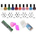 DIY Nail Polish Mould Tools,5PCS Nail Plates + 10 Colors Nail Stamp Polish +Stamper + Scraper