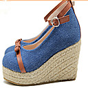 Girls' Shoes Casual Wedges / Pointed Toe Canvas Heels Blue