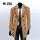 Men's Lapel Long Slim Woolen Coat