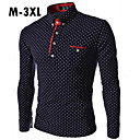 branco azul preto shirt / manga longa, casual masculina / algodão mais tamanhos bolinhas