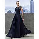 Formal Evening Dress - Dark Navy A-line Bateau Floor-length Georgette