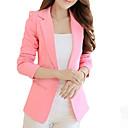 Women's Solid Pink/Black Blazer,Work Notch Lapel Long Sleeve