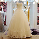 A-line Wedding Dress - Ivory Floor-length Off-the-shoulder Lace / Tulle