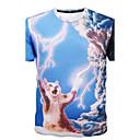 Camiseta De los hombres Estampado-Casual / Deporte-Algodón-Manga Corta-Azul