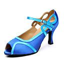 Customizable Women's Dance Shoes Latin Satin Stiletto Heel Blue