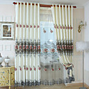 Two Panels Modern Floral Living Room Polyester Panel Curtains Drapes