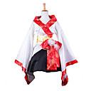 stile kimono moda manica lunga al ginocchio raso bianco vestito wa lolita