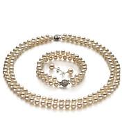 grado A 6-7MM fresco blanco collar de perlas de agua y establecer pulsera (cx030)