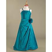 Hasta el Suelo Tafetán Vestido de Dama de Honor Junior Corte en A / Princesa Tirantes Spaghetti Natural con Flor(es) / Recogido Lateral