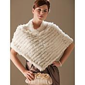 de conejo auténtica piel / piel de zorro poncho con flecos / abrigos