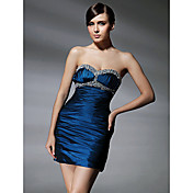 Sheath/ Column Sweetheart Short/ Mini Beaded Taffeta Cocktail Dress