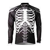 SPAKCT Hombre Manga Larga Bicicleta Camiseta/Maillot Tops Mantiene abrigado Secado rápido Resistente a los UV Transpirable 100% Poliéster
