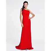 vaina / columna un hombro de barrido / cepillo de tren vestido de dama de honor de gasa con el lado de drapeado por lan ting novia ®