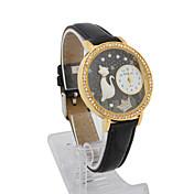 Piel de vidrio de cuarzo Movimiento Femenino forma redonda con vestido reloj Rhinestone