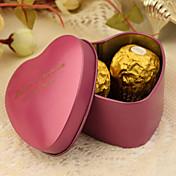 24 Piezas / Juego Holder favor-Con Forma de Corazón Estaño Cajas de regalos Cubetas de recuerdo Personalizado