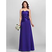 una línea de princesa strapless espaguetis correas de longitud del piso vestido de dama de honor de satén con flores by lan ting bride®
