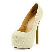 Mujer-Tacón Stiletto Plataforma-PlataformaBoda Vestido-Cuero Patentado-Blanco