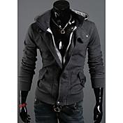 DJJM Moda Hombre Nuevo delicada capa encapuchada del paño grueso y suave Ocio franela de lana (gris oscuro)