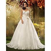 Linha A Princesa Com Alças Finas Cauda Corte Tule Vestido de casamento com Miçangas Apliques Faixa / Fita Laço de LAN TING BRIDE®