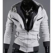 Contraste Shangdu Hombres Color de manga larga con capucha Cardigan (gris claro)