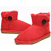 GS Frauen Red Leather Buckle Cow Suede Tpr Sole Snow Boots