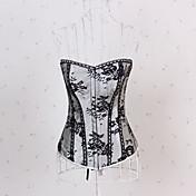 sexet lingeri polyester-blandet bomuld plast udbenet lace-up korset bustier og g-string sæt shaper