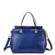 MEFAs Klassische Solid Color echtes Leder Tote / Crossbody-Tasche (Royal Blue)