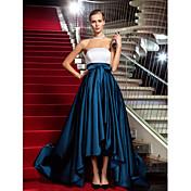 Corte en A Princesa Sin Tirantes Asimétrica Satén Evento Formal Baile Militar Gala de Etiqueta Vestido con Recogido por TS Couture®