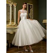 Princesa Escote de ilusión Hasta el Tobillo Tul Vestido de novia con Apliques Cinta / Lazo Botón por LAN TING BRIDE®