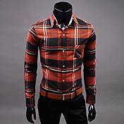 Vのファッション長袖痩身コットンシャツ(赤)