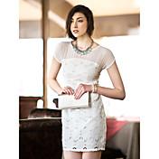 TS recorte Embroideried delgado vestido