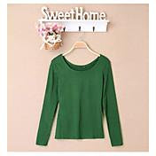 Ronda de las mujeres clásicas Lizi color sólido coreano de manga larga T Shirt (pantalla a color)