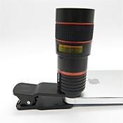 Univerzalni 8x telefoto objektiv s kopčom za mobitel iphone samsung htc pametni telefon crvena + crna