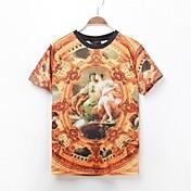 男性用 プリント カジュアル / オフィス / スポーツ Tシャツ,半袖 コットン,マルチカラー