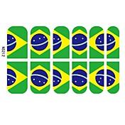 12 PCS del clavo 3d dedo completo Stickers Tips para los fanáticos del fútbol Brasil